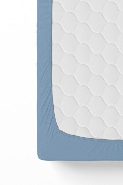 Anemons Çift Kişilik Battal Boy Penye Lastikli Çarşaf Petrol Mavisi 180x200 Cm