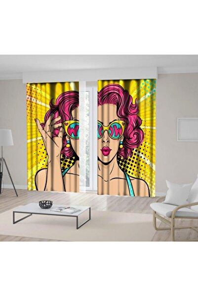 Henge Home Baskılı Fon Perde Pop Art Yüzü Güneş Gözlüğü Kadın Desenli