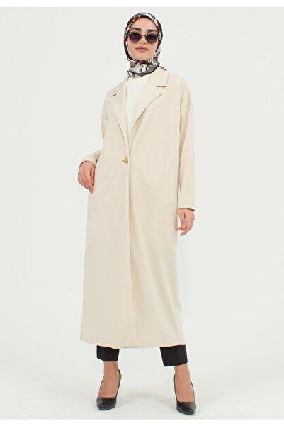 Setrms Kadın Düğme Detay Erkek Yaka Oversize Ceket