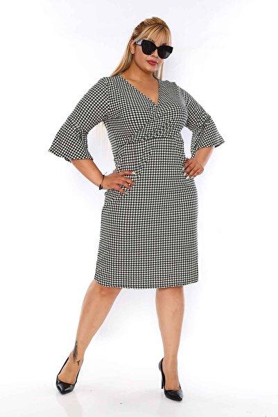 Moday Kazayağı Desenli Büyük Beden Elbise 3d-0756