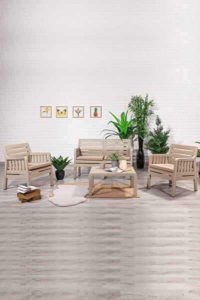 SANDALİE Lara 2 1 1 S Bahçe Takımı Balkon - Bahçe - Teras Mobilyası / Cappucino