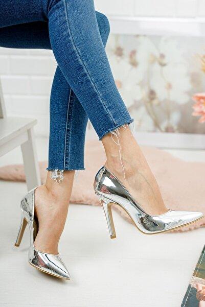 SHEFİKAMODA Tokyo Gümüş Ayna Kadın Topuklu Ayakkabı Stiletto