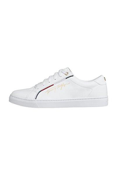 Tommy Hilfiger Kadın Beyaz Sneaker Tommy Hılfıger Sıgnature Sneaker FW0FW05015
