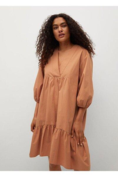 MANGO Woman Kadın Yanık Turuncu Fırfırlı Pamuklu Elbise