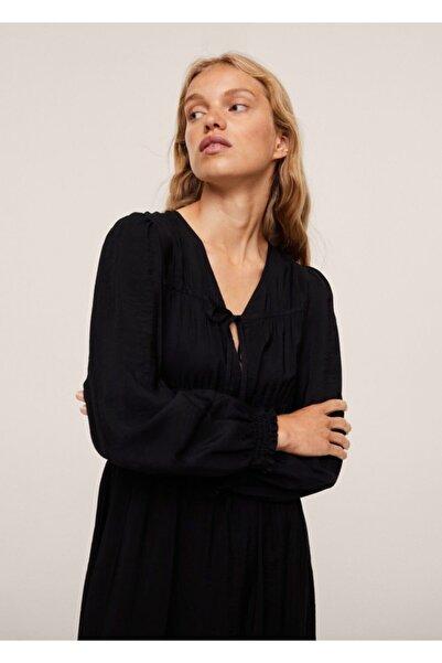 MANGO Woman Kadın Siyah Desenli Fiyonklu Elbise