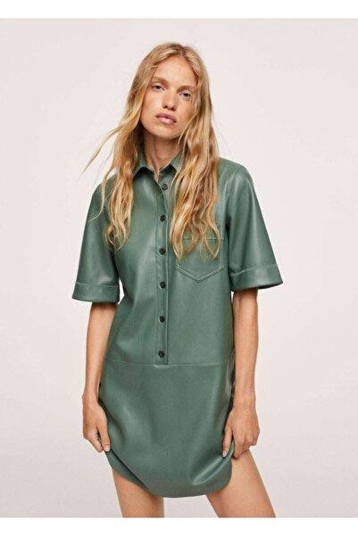 MANGO Woman Kadın Yeşil Suni Deri Gömlek Elbise