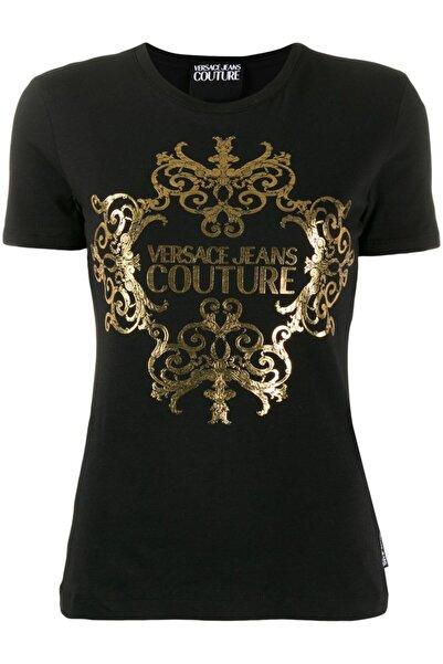 Versace Gold Logo Baskı Jeans Couture Siyah T-shirt
