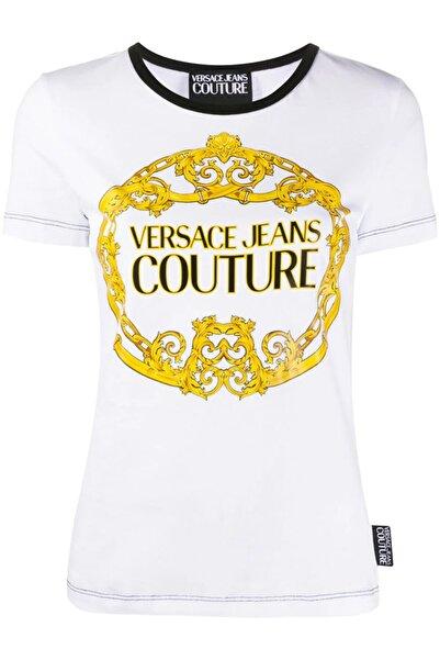 Versace Ring Logo Baskı Siyah Yaka Jeans Couture Beyaz T-shirt