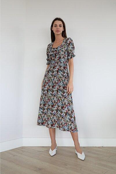 Foremia Büzgü Detay Uzun Elbise