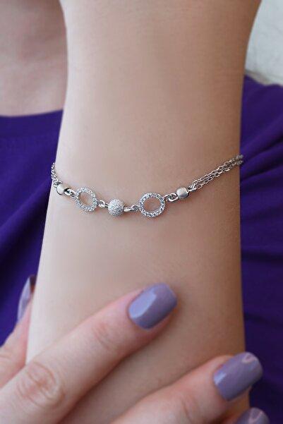 Parmas Design Kadın Zirkon Taşlı Halka Tasarım 925 Ayar Gümüş Bileklik