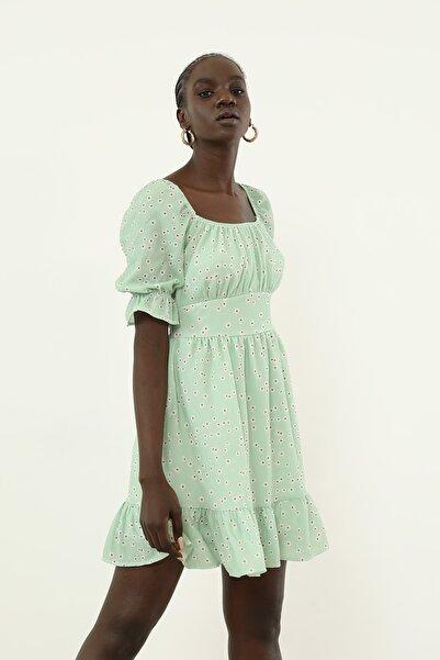 Foremia Volan Detay Desenli Elbise