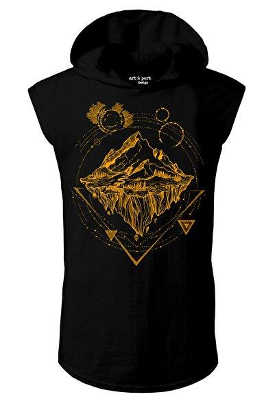 Artaport Design Unisex Siyah Traveler Tasarım Kapşonlu Kolsuz T-shirt