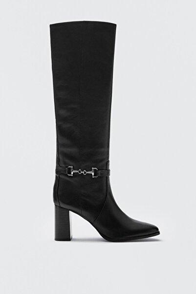 Massimo Dutti Kadın Gem Zincir Detaylı Deri Topuklu Çizme 11002750