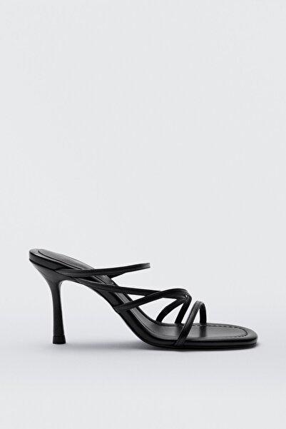 Massimo Dutti Kadın Çok Bantlı Deri Sandalet 11678850