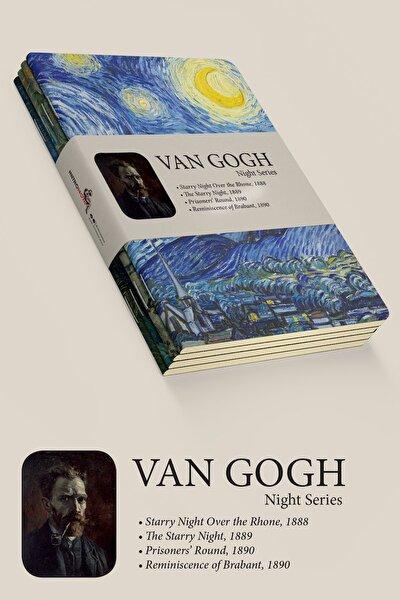 retronote Van Gogh 4'lü Defter Seti 1 - Night Series - Çizgisiz - 64 Sayfa - 10,5x14cm