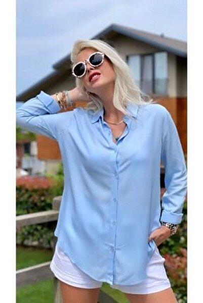 Kadın Basic Standart Kalıp Dokuma Viskoz Kumaş Gömlek Bluz
