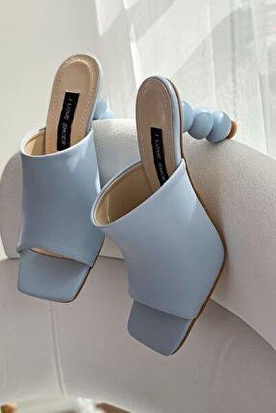 Kadın Mavi Cloren Mat Deri Topuk Detaylı Yüksek Topuklu Terlik