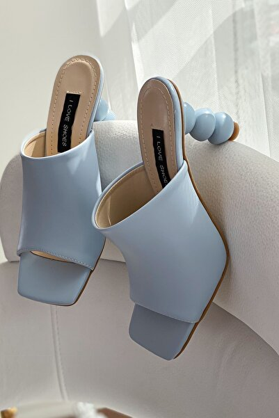 I Love Shoes Kadın Mavi Cloren Mat Deri Topuk Detaylı Yüksek Topuklu Terlik