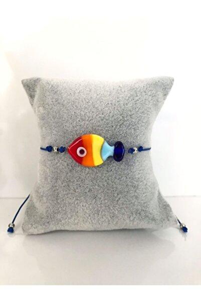 aura hediyelik Murano Balık Cam Boncuk Bileklik- Lacivert Ipli