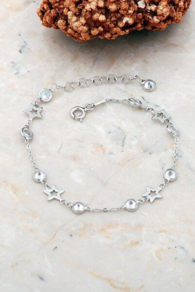 Sümer Telkari Yıldız Rodyumlu Gümüş Bileklik 3739