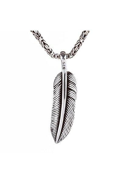 Candie Silver Erkek Kuş Tüyü Model Kral Zincirli Gümüş Kolye 925 Ayar