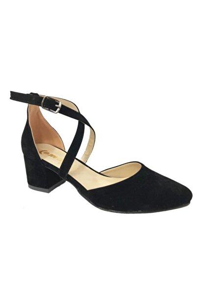 Emay Kadın Siyah Süet Yanı Açık Ayakkabı