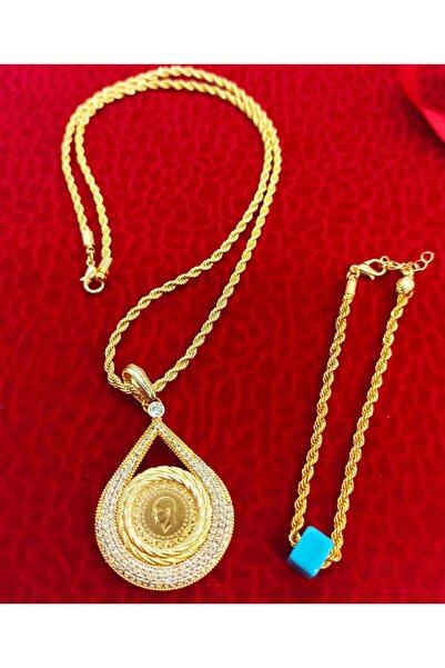 dost altın 22 Ayar Çeyrek Altın, Altın Kaplama Çerçeveli Ve Halat Zincirli Kolye
