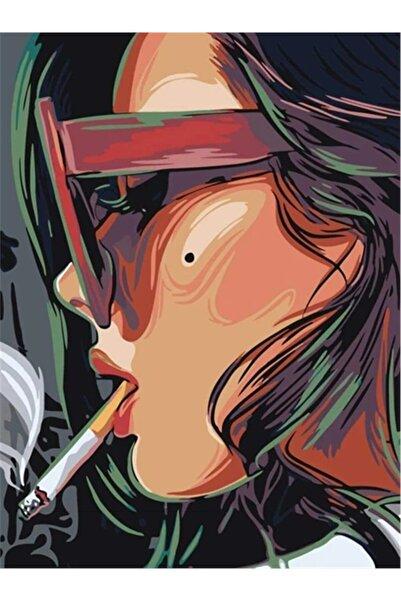 Movas Sanat Cartoon Çizim Karizmatik Kadın Elmas Mozaik Tablo / Boncuk Goblen 35 X 50cm E20203089m