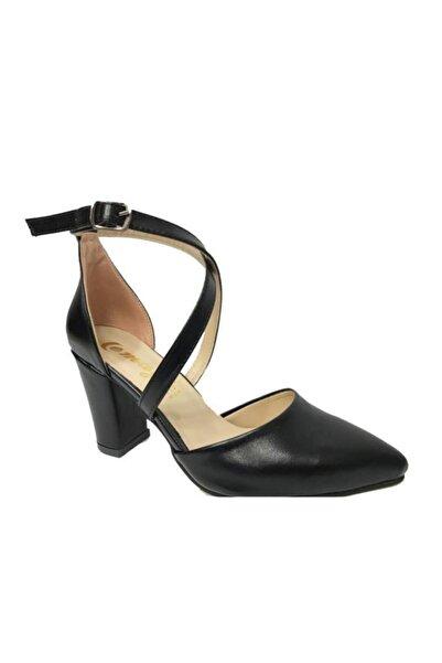Emay 202 Baskı Deri Yanı Açık Kadın Ayakkabı