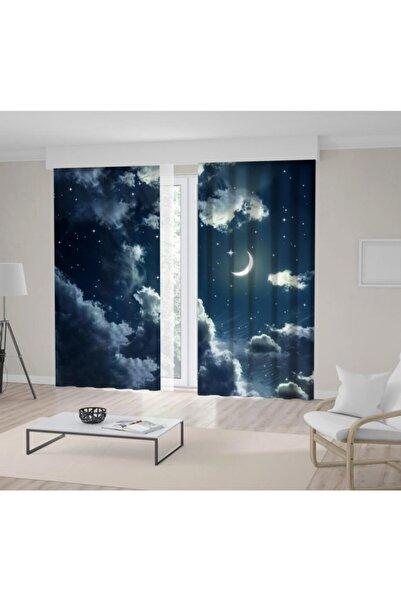 Henge Home Baskılı Fon Perde Mavi Bulut Gece Işıltılı Ay Gökyüzü Desenli