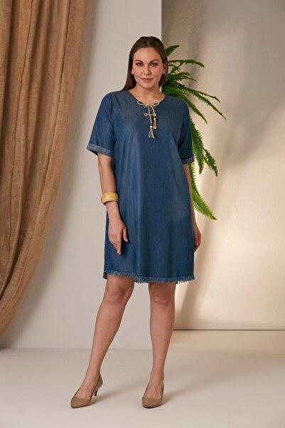 RMG Etek Ucu Püsküllü Kim Mavi Elbise