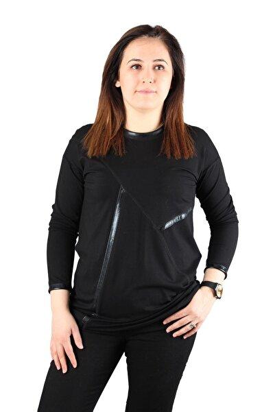 FİERTE Kadın Büyük Beden Bluz Lm44150 Yuvarlak Yaka Deri Detay Pamuk Uzun Kol Siyah Lacivert
