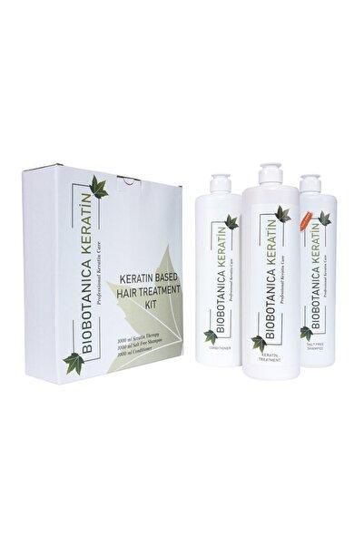 Biobotanica Brezilya Fönü Keratini 3'lü Set - Tuzsuz Şampuan/keratin/saç Kremi 3 X 1000 ml