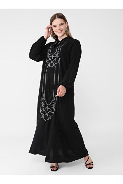 ALİA Büyük Beden Doğal Kumaşlı Nakış Detaylı Elbise Siyah Gri