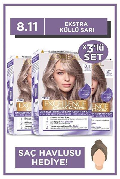 L'Oreal Paris Excellence Cool Creme Saç Boyası – 8.11 Ekstra Küllü Sarı 3'lü Set & Saç Havlusu