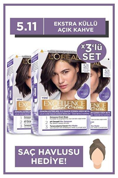 L'Oreal Paris Excellence Cool Creme Saç Boyası – 5.11 Ekstra Küllü Açık Kahve 3'lü Set & Saç Havlusu