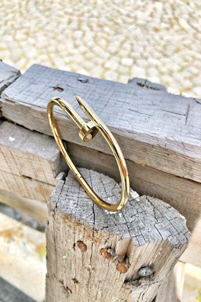 Bazaryeri Unisex Sarı Çivi Çelik Bileklik