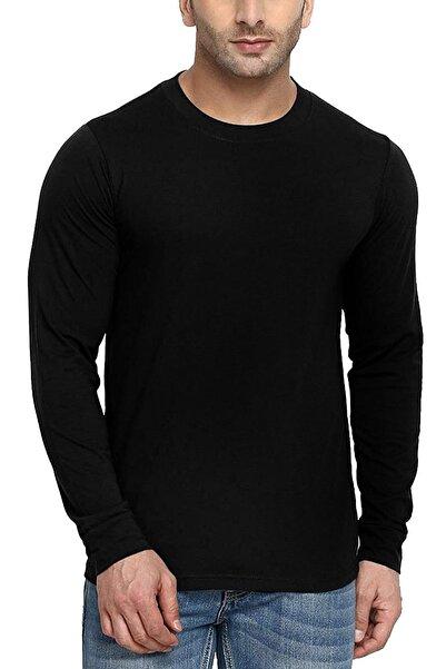 Rock & Roll Erkek Siyah Düz, Baskısız Bisiklet Yaka Uzun Kollu Penye T-shirt