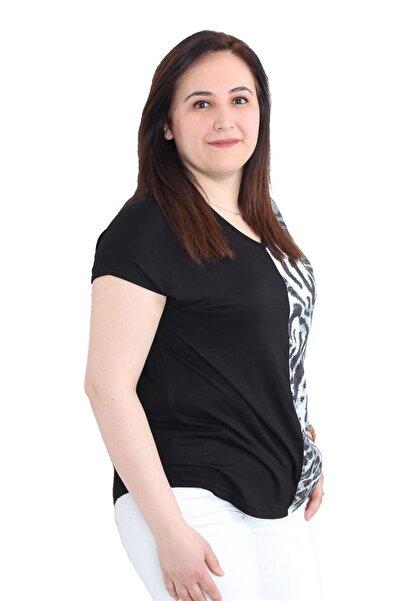 FİERTE Kadın Büyük Beden Bluz Edby1384 V Yaka Renk Kombin Spor Düşük Kol Penye Piton Siyah Leopar