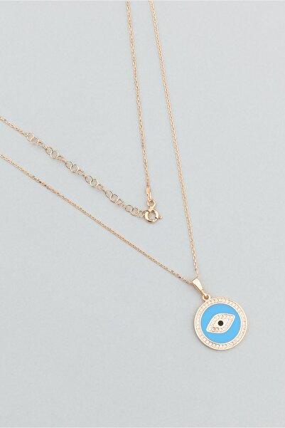 So CHIC... Mavi Mine Göz Figürlü 18 Ayar Rose Altın Kaplama Gümüş Kolye