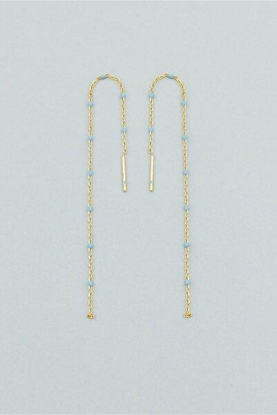 So CHIC... Mavi Mine Sallantılı 18 Ayar Sarı Altın Kaplama Gümüş Küpe