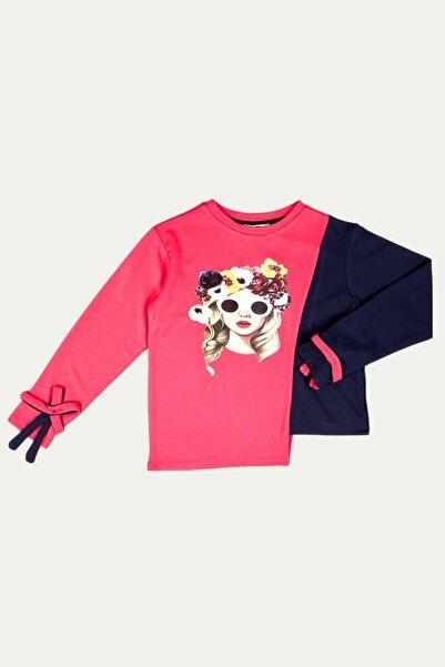 Çikoby Kız Çocuk Baskılı Fiyonklu Asimetrik Kesim Sweatshirt 7-14 Yaş C19w-ck3912