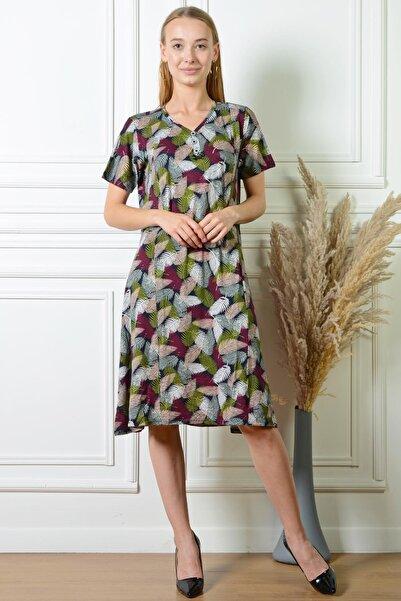 PİNKMARK Kadın Yaprak Desenli Karışık Düğme Detaylı Büyük Beden Elbise Pmel25313