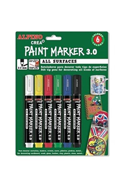 Alpıno Alpino Crea Paint Marker 6'lı Tüm Yüzeyler Için Boyama Markörü Seti