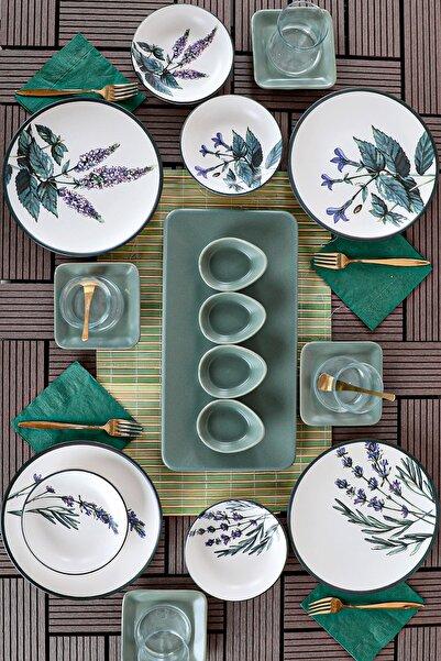 Keramika Çiçek Bahçesi Kahvaltı Takımı 21 Parça 4 Kişilik - 18939-40-42-43