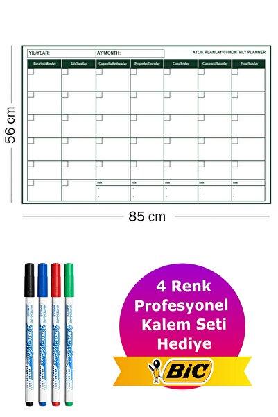 Evbuya Aylık Planlayıcı - Yapışkansız Statik Tutunan Akıllı Kağıt & Bic Velleda Tahta Kalemi Seti
