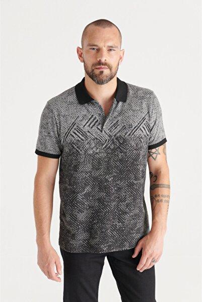 Avva Erkek Siyah Polo Yaka Jakarlı Slim Fit T-shirt A11y1199