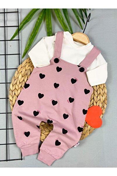 sm bebek Kız Bebek Kalp Desenli Pudra Renk Slopet Takım