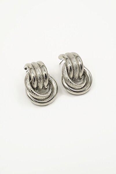 Marjin Kadın Gümüş Renkli Minimal Tasarım Halka KüpeGümüş