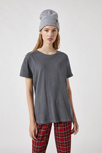 Pull & Bear Kadın Soluk Siyah Soluk Efektli Basic Oversize T-Shirt 05236365